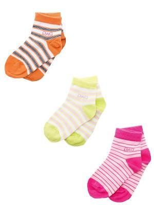 Носки Детские,комплект 3 пары DAG. Цвет: салатовый, оранжевый, розовый