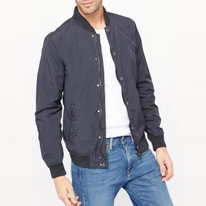 Куртка с небольшим воротником-стойкой в рубчик PETROL INDUSTRIES. Цвет: темно-синий,хаки