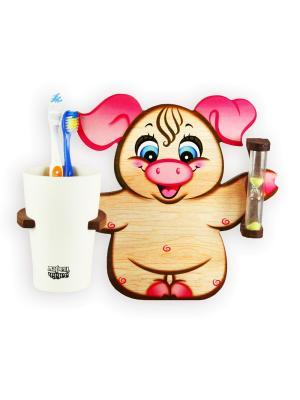 Настенные часы с подставкой для зубных щёток Три минутки - здоровые зубки, Рюшечка Ларец Чудес. Цвет: розовый