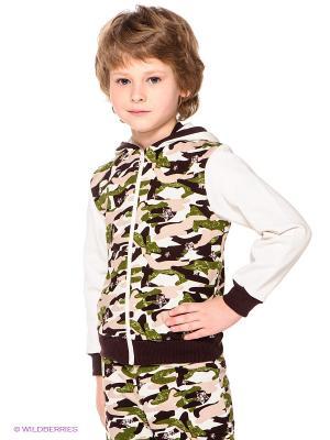 Куртка Lucky Child. Цвет: молочный, темно-коричневый