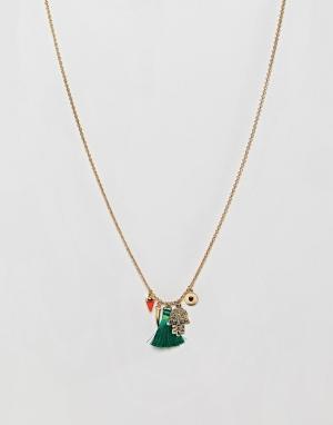 Orelia Позолоченное ожерелье с подвесками Medina. Цвет: золотой