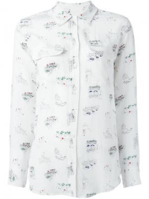 Рубашка с принтом Equipment. Цвет: белый