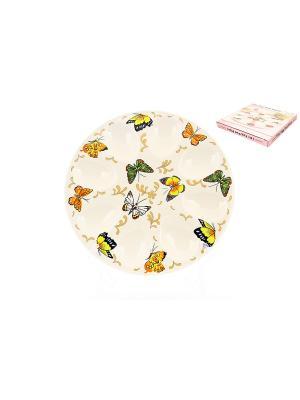 Тарелка для фаршированных яиц Бабочки Elan Gallery. Цвет: белый, зеленый, желтый