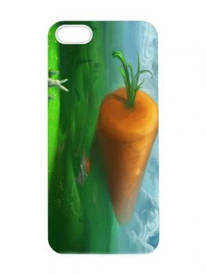 Чехол для iPhone 5/5s Заяц и морковка Chocopony. Цвет: голубой, серебристый