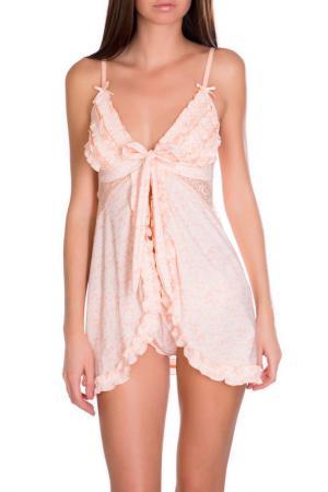 Сорочка бэби долл Rose&Petal Homewear. Цвет: лососевый