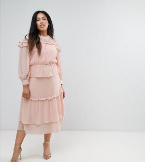 Truly You Многоярусное платье миди с кружевной вставкой Victoriana. Цвет: розовый