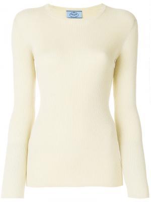Трикотажный свитер в рубчик Prada. Цвет: жёлтый и оранжевый