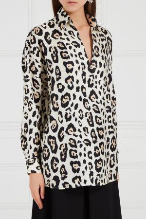 Шелковая блузка с леопардовым принтом Adolfo Dominguez. Цвет: бежевый