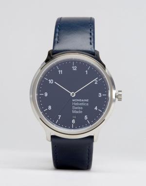 Mondaine Классические часы с темно-синим ремешком Helvetica No1 40mm. Цвет: темно-синий