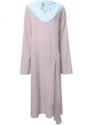 Платье с принтом в ломаную клетку N Duo. Цвет: многоцветный