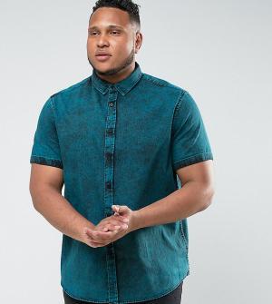 ASOS Синяя рубашка классического кроя из мраморного джинса PLUS. Цвет: зеленый