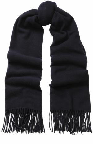 Шерстяной шарф с бахромой Drykorn. Цвет: синий