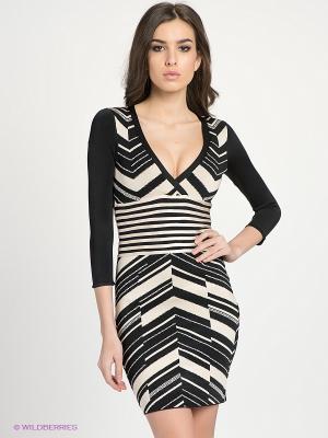 Платье bebe. Цвет: черный, бежевый
