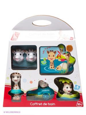 Набор игрушек для ванны Софи Sophie la girafe. Цвет: синий, салатовый, белый