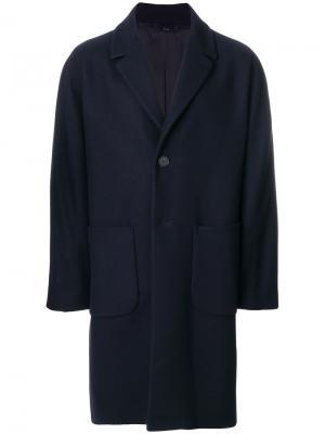 Пальто средней длины Hevo. Цвет: синий