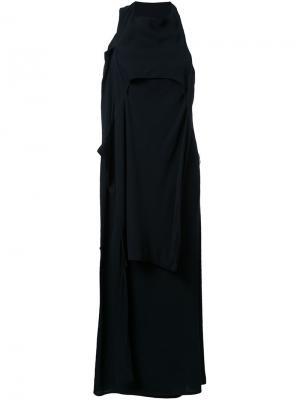 Асимметричное длинное платье Eckhaus Latta. Цвет: чёрный