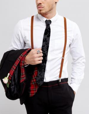 ASOS Коричневые подтяжки в винтажном стиле WEDDING. Цвет: коричневый
