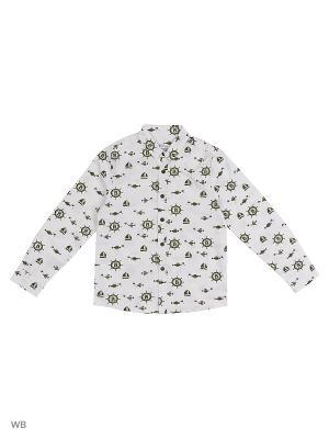 Рубашка  для мальчика Bonito kids. Цвет: белый, хаки