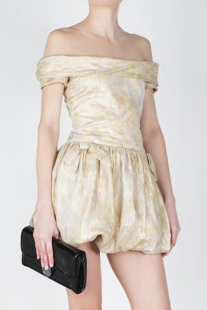 Платье из шелка и полиамида Luisa Beccaria. Цвет: золотой