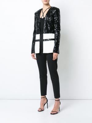 Contrast panelled sequin jacket Sally Lapointe. Цвет: чёрный