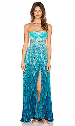 Макси платье с вырезом и рисунком перьями Caffe. Цвет: синий