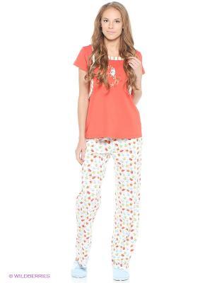 Пижама с брюками RELAX MODE. Цвет: коралловый