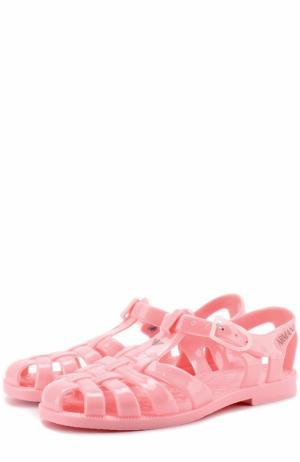 Сандалии на ремешках с логотипом бренда Giorgio Armani. Цвет: розовый