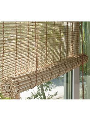 Бамбуковые рулонные шторы, натур микс, размер: 100х160 Эскар. Цвет: коричневый, бежевый