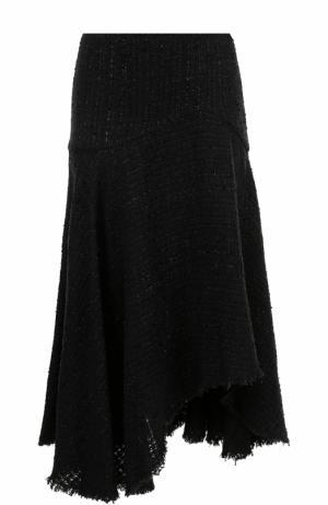 Буклированная юбка-миди асимметричного кроя Alexander McQueen. Цвет: черный