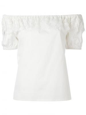 Блузка с открытыми плечами Perseverance London. Цвет: белый