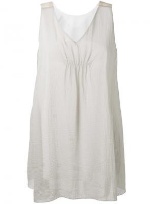 Полупрозрачная блузка с неравномерным подолом Fabiana Filippi. Цвет: серый