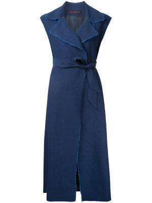 Платье с запахом и необработанными краями Martin Grant. Цвет: синий