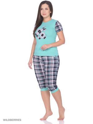 Пижама женская (футболка,капри) MARSOFINA. Цвет: зеленый