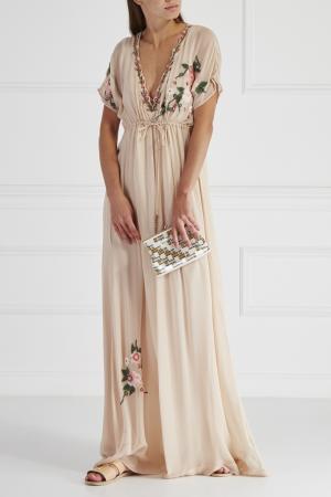 Шелковое платье HOSS INTROPIA. Цвет: бежевый