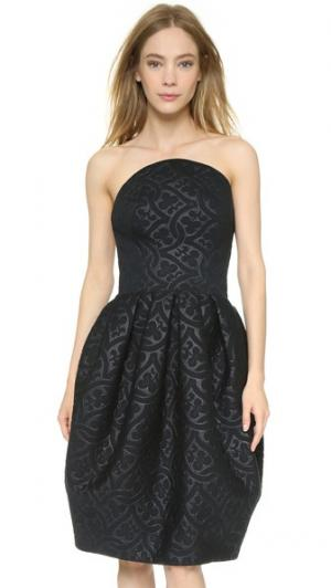 Платье из проклеенной ткани с тиснением Zac Posen. Цвет: голубой