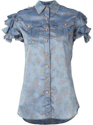 Рубашка с оборками Kolor. Цвет: серый