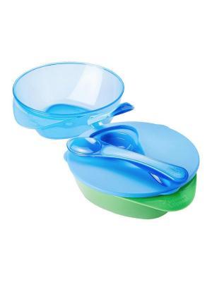 Глубокая тарелочка с Волшебным дном, крышкой и ложечкой TOMMEE TIPPEE. Цвет: синий,салатовый