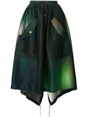 Юбка в стиле милитари на завязках Kenzo. Цвет: зелёный