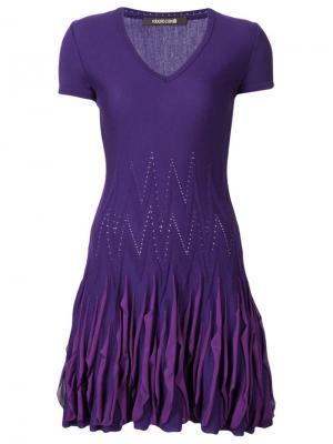 Вязаное платье с оборками Roberto Cavalli. Цвет: розовый и фиолетовый