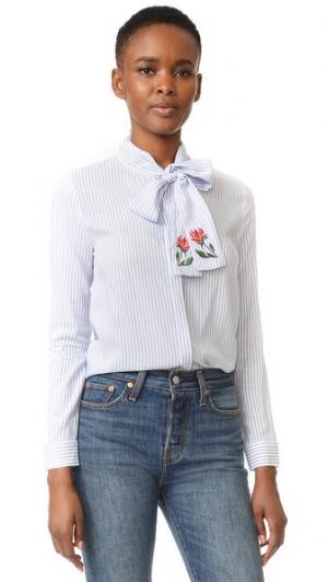 Полосатая блуза с принтом в виде пеонов ENGLISH FACTORY. Цвет: голубая полоска