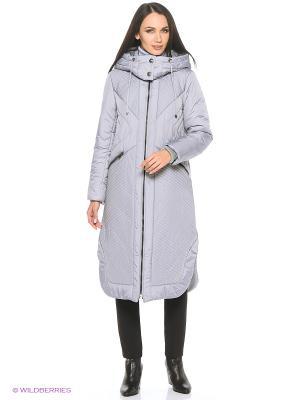 Пальто, пояс D`imma. Цвет: серый, сиреневый