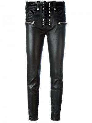 Кожаные брюки на завязках Unravel Project. Цвет: чёрный