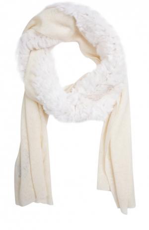 Кашемировый шарф с отделкой из меха кролика Franco Ferrari. Цвет: белый