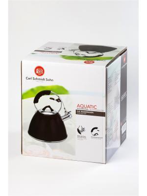 Чайник AQUATIC 3 л со свистком, из нержавеющей стали, цвет чёрный Carl Schmidt Sohn. Цвет: черный