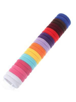 Резинки для волос разноцветные, 4 см, 12 цветов мягкие на трубе, набор 24 штуки Радужки. Цвет: синий,зеленый,красный
