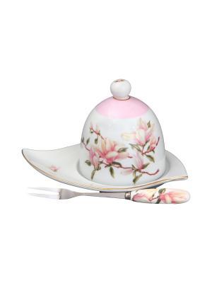 Подставка под лимон Орхидея на розовом с вилкой Elan Gallery. Цвет: белый, розовый