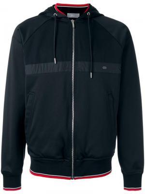 Куртка с капюшоном и полосатой отделкой Dior Homme. Цвет: чёрный
