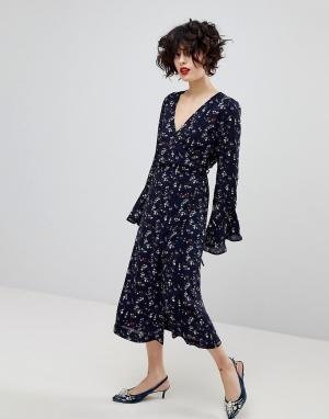 Essentiel Antwerp Платье с длинными рукавами Piscine. Цвет: синий
