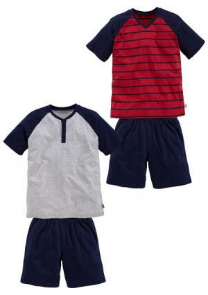 Пижама с шортами, 2 штуки LE JOGGER. Цвет: серый меланжевый+темно-синий