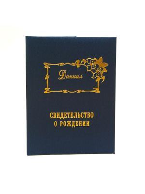 Именная обложка для свидетельства о рождении Даниил Dream Service. Цвет: синий